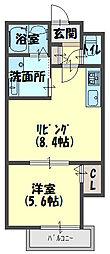クリエオーレ寺方元町[2階]の間取り