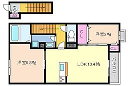 兵庫県神戸市東灘区御影山手2丁目の賃貸アパートの間取り