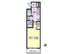 ルネサンス東小金井 2階1Kの間取り