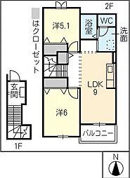ドミール姫見[2階]の間取り