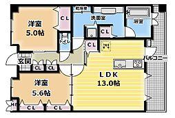 カンパヌール[4階]の間取り
