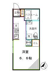 東京メトロ丸ノ内線 中野新橋駅 徒歩7分の賃貸マンション 1階ワンルームの間取り