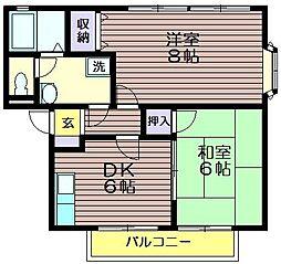 ファミール成城B[102号室]の間取り