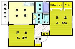福岡県古賀市米多比の賃貸アパートの間取り
