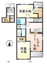 愛知県清須市鍋片3丁目の賃貸アパートの間取り