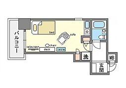 家具・家電付き朝日プラザ天神 A[3階]の間取り