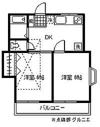 東京都小金井市東町5丁目の賃貸アパートの間取り