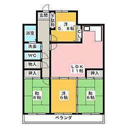 三旺マンション植田駅前[3階]の間取り