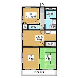 アビタシオン中田[3階]の間取り