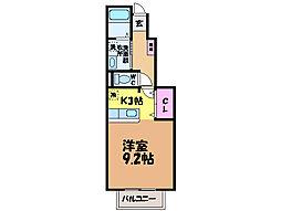 愛媛県東温市牛渕の賃貸アパートの間取り