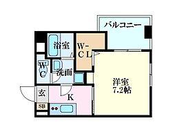 LE DOME東蟹屋 4階1Kの間取り