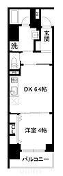 JR山陰本線 梅小路京都西駅 徒歩7分の賃貸マンション 4階1DKの間取り