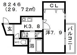 アベニュー岡 6階1Kの間取り