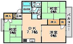 兵庫県伊丹市野間3丁目の賃貸アパートの間取り