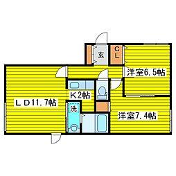 北海道札幌市東区本町一条2丁目の賃貸マンションの間取り
