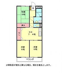 愛知県小牧市新町1丁目の賃貸マンションの間取り