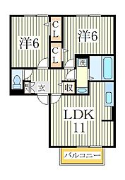 ベルレージュC[1階]の間取り