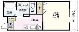 PLEIN SOLEIL 桜尾 2階1Kの間取り
