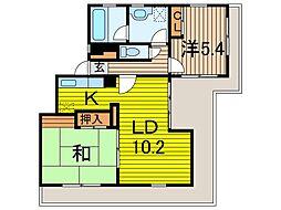 埼玉県蕨市中央4丁目の賃貸マンションの間取り