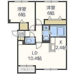 札幌市営南北線 麻生駅 バス18分 屯田9-6下車 徒歩5分の賃貸アパート 2階2LDKの間取り