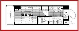 ステージグランデ上野松が谷 13階1Kの間取り
