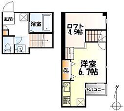 JR東北本線 太子堂駅 徒歩9分の賃貸アパート 2階ワンルームの間取り