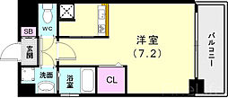 神戸市西神・山手線 新長田駅 徒歩3分の賃貸マンション 11階ワンルームの間取り
