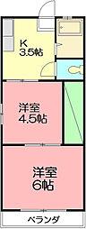 神奈川県小田原市小八幡4丁目の賃貸アパートの間取り