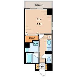 サンピアット東大島 4階1Kの間取り