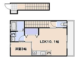 ボーライズ大東 A棟 2階1LDKの間取り