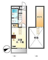 レオパレスM&m[2階]の間取り