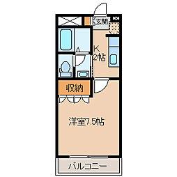 長野県岡谷市赤羽1丁目の賃貸アパートの間取り
