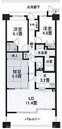 大阪府枚方市香里ケ丘7丁目の賃貸マンションの間取り