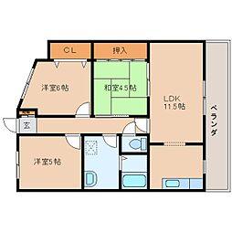 奈良県奈良市般若寺町の賃貸マンションの間取り