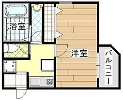 プリランド姫島 2階1Kの間取り