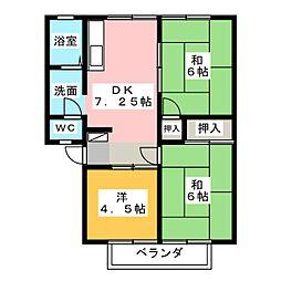 グローバルB棟[2階]の間取り