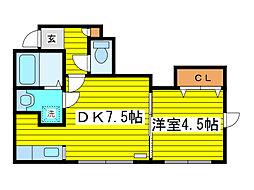 北海道札幌市東区北二十二条東12丁目の賃貸アパートの間取り