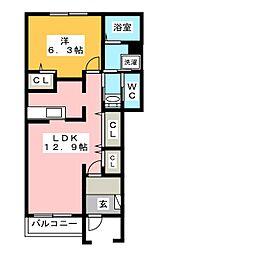 ルルーディアB[1階]の間取り