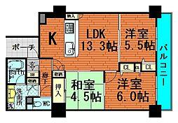 ロイヤルタワー大阪谷町[11階]の間取り