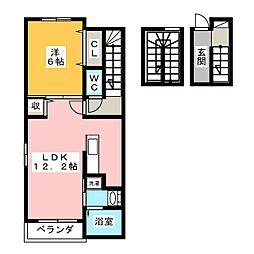 ラフレシールA 3階1LDKの間取り