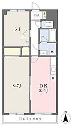 デンファレマンション 1階2DKの間取り