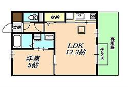 兵庫県神戸市垂水区中道6丁目の賃貸アパートの間取り