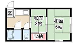愛知県名古屋市昭和区下構2の賃貸アパートの間取り