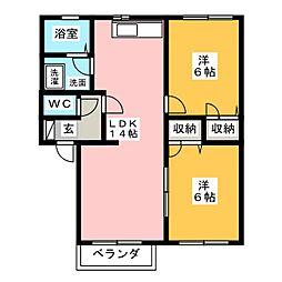 サンフラワー A[2階]の間取り