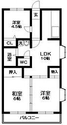 ベルビュー松戸[3階]の間取り