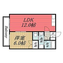 JR東金線 求名駅 徒歩34分の賃貸アパート 1階1LDKの間取り