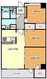 大阪府大阪市住之江区新北島3丁目の賃貸マンションの間取り