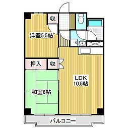 愛知県名古屋市中川区下之一色町字宮分の賃貸マンションの間取り