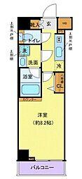 西武新宿線 下落合駅 徒歩4分の賃貸マンション 2階1Kの間取り