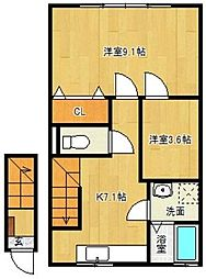 福岡県久留米市西町の賃貸アパートの間取り